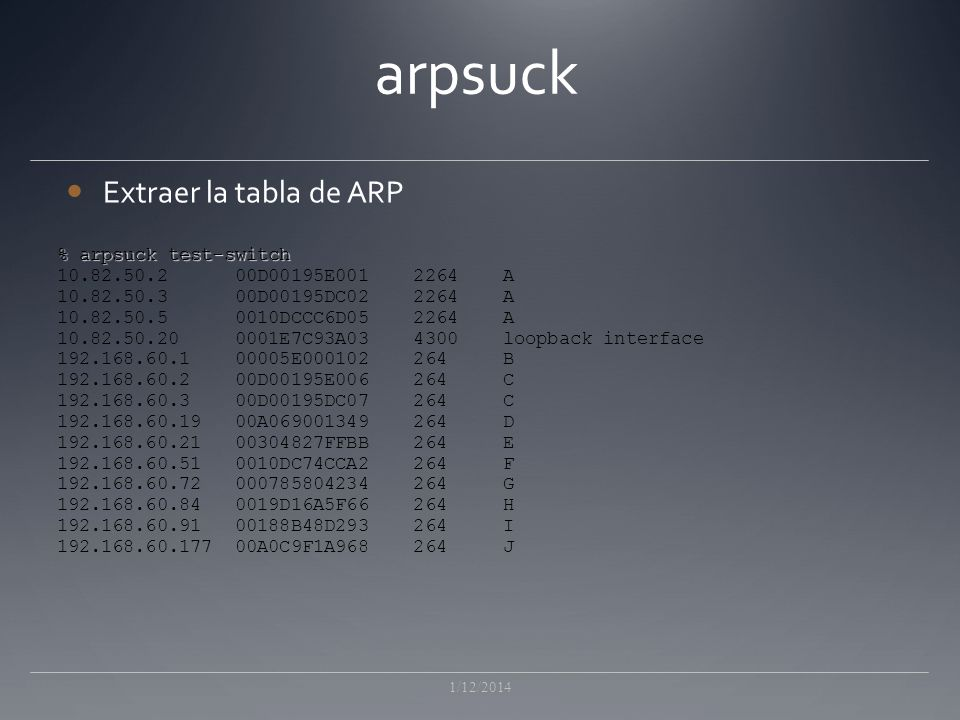 arpsuck Extraer la tabla de ARP % arpsuck test-switch