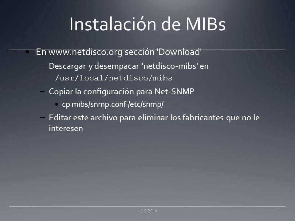 Instalación de MIBs En www.netdisco.org sección Download