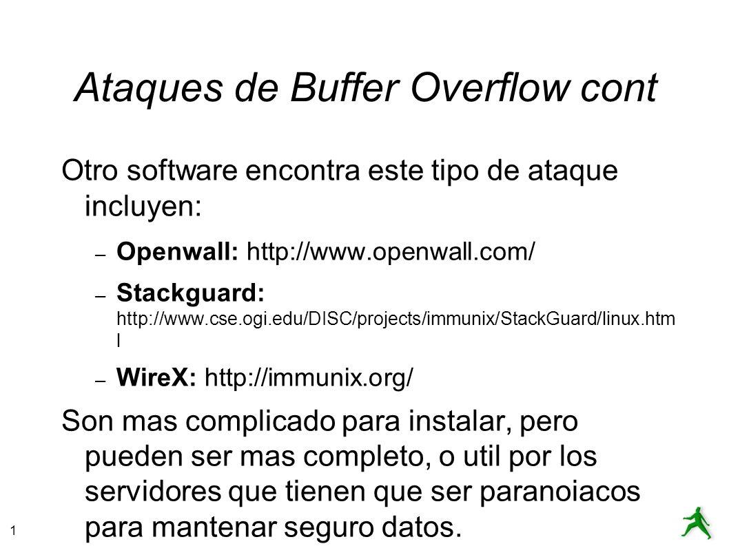 Ataques de Buffer Overflow cont