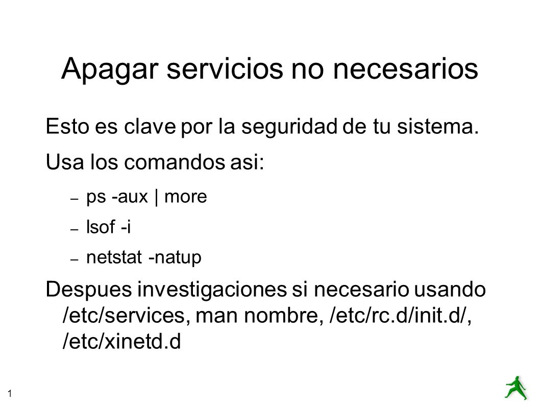 Apagar servicios no necesarios