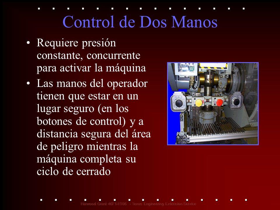 Control de Dos Manos Requiere presión constante, concurrente para activar la máquina.