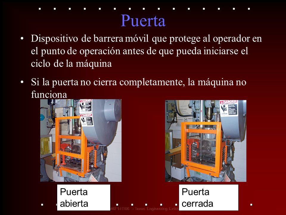 Puerta Dispositivo de barrera móvil que protege al operador en el punto de operación antes de que pueda iniciarse el ciclo de la máquina.