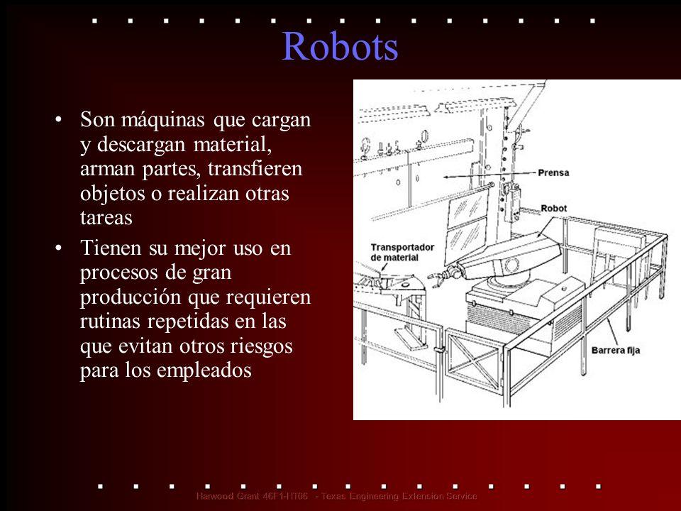 Robots Son máquinas que cargan y descargan material, arman partes, transfieren objetos o realizan otras tareas.