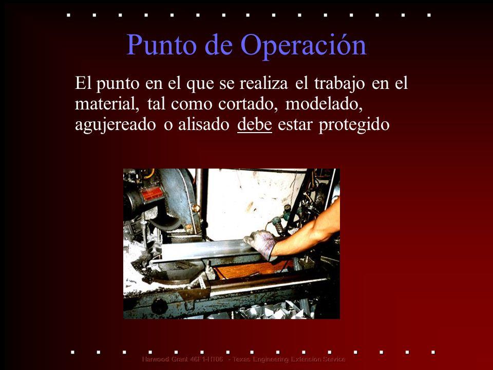 Punto de Operación El punto en el que se realiza el trabajo en el material, tal como cortado, modelado, agujereado o alisado debe estar protegido.