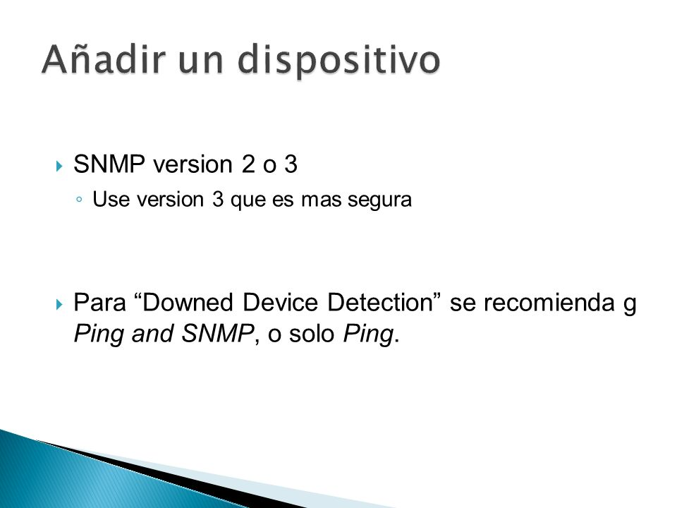 Añadir un dispositivo SNMP version 2 o 3