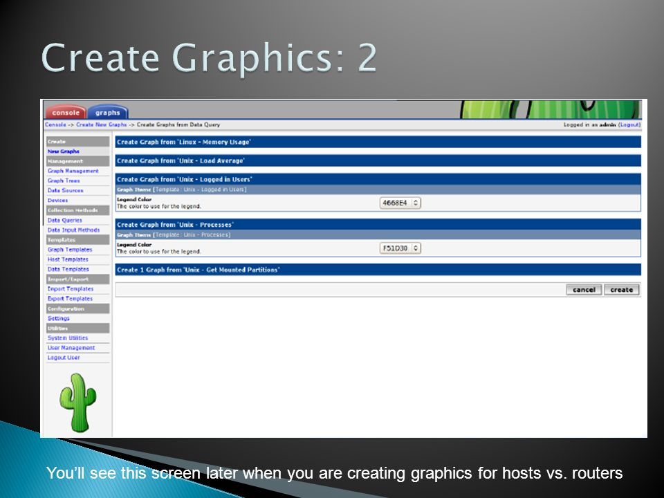 Create Graphics: 2 You'll see this screen later when you are creating graphics for hosts vs.