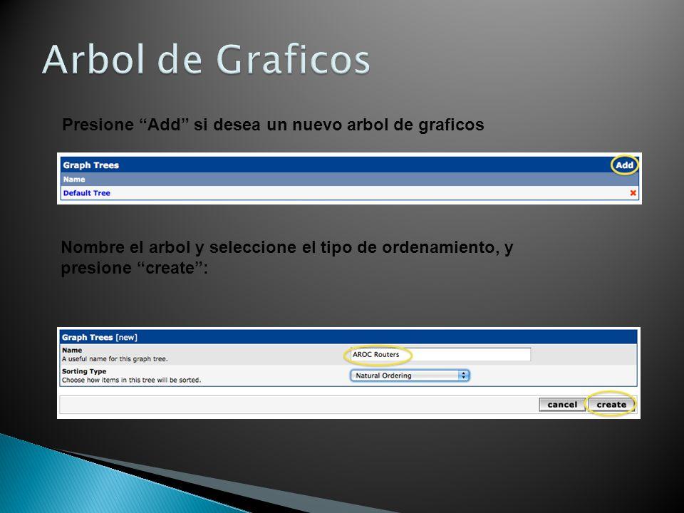 Arbol de Graficos Presione Add si desea un nuevo arbol de graficos