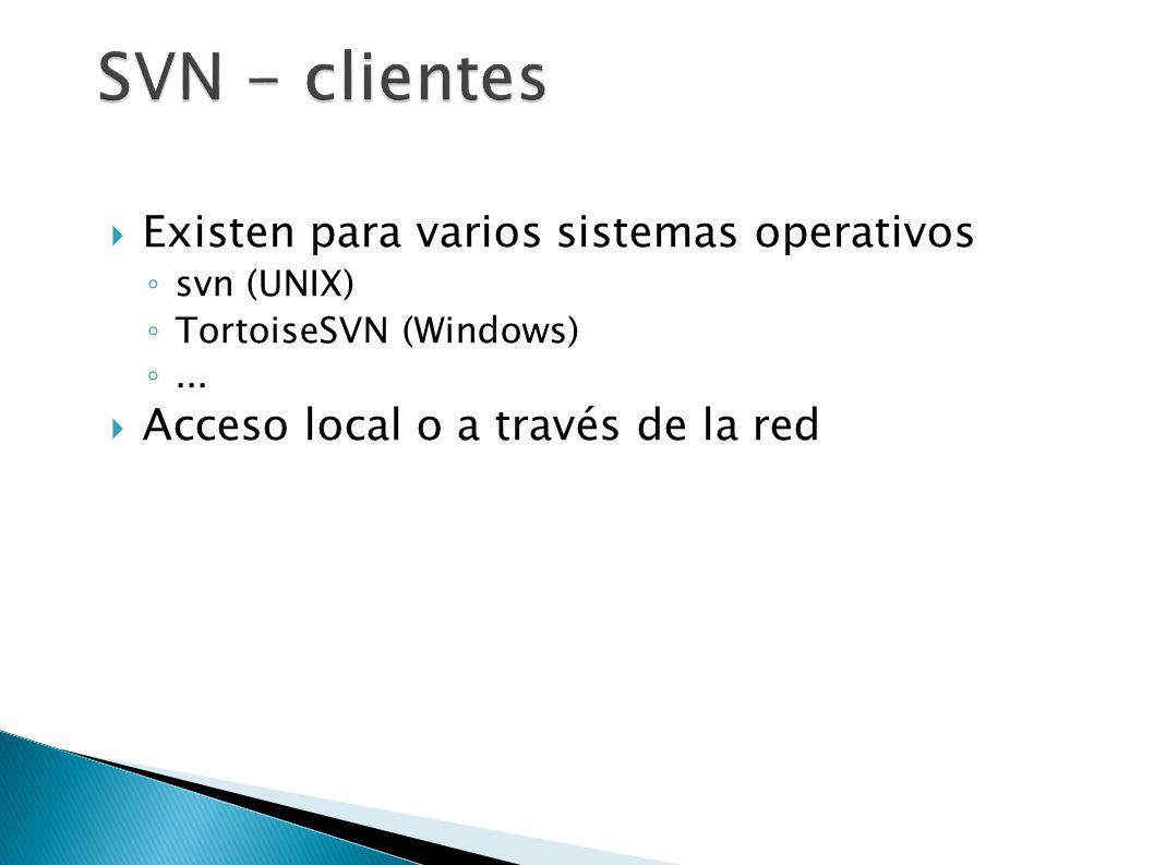 SVN - clientes Existen para varios sistemas operativos