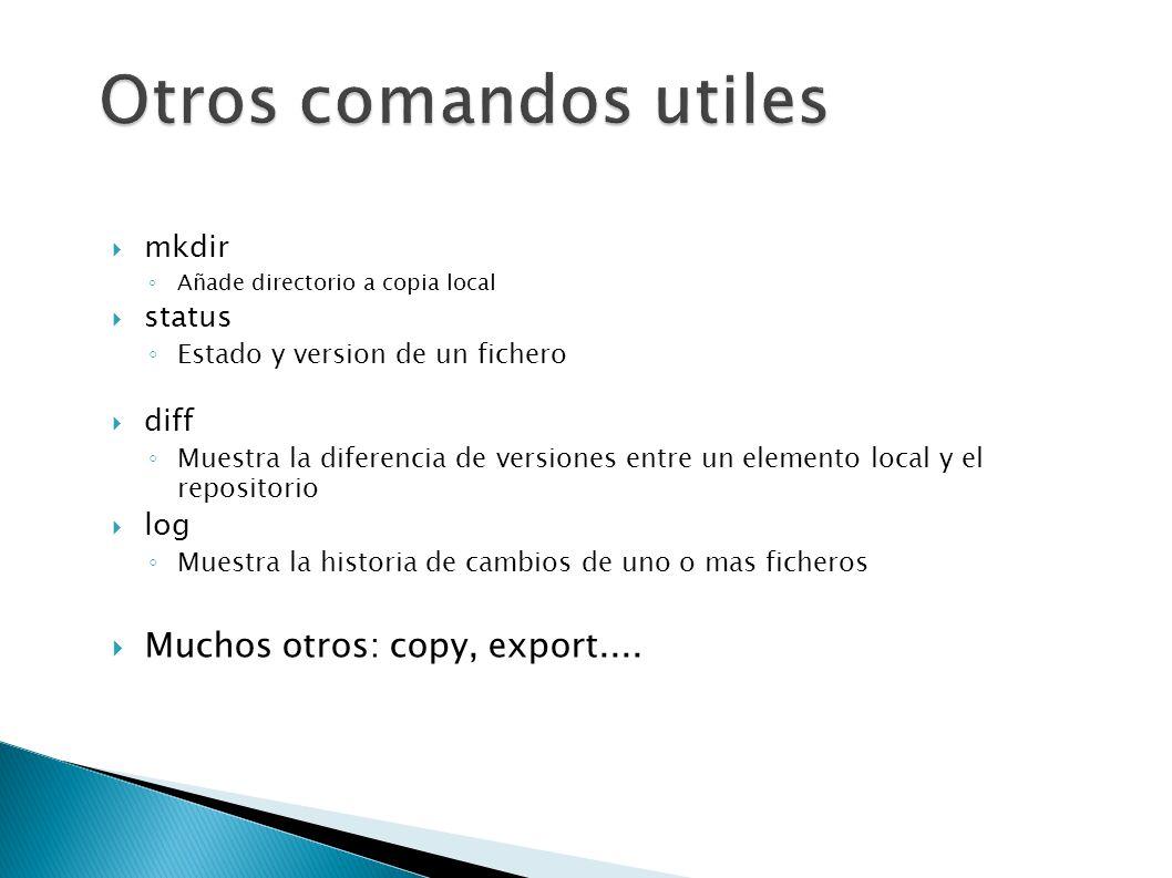 Otros comandos utiles Muchos otros: copy, export.... mkdir status diff