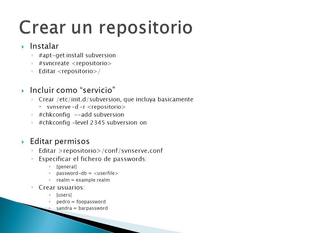 Crear un repositorio Instalar Incluir como servicio Editar permisos