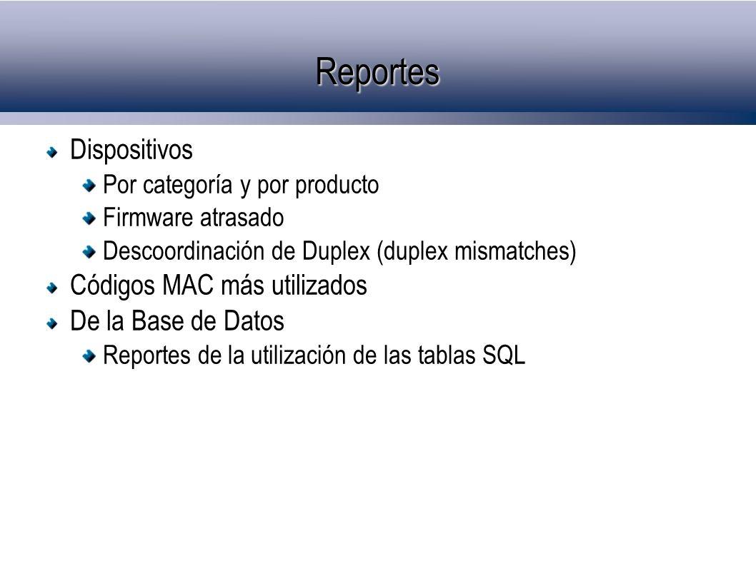 Reportes Dispositivos Códigos MAC más utilizados De la Base de Datos