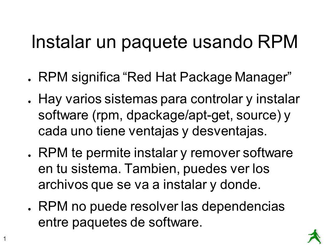 Instalar un paquete usando RPM