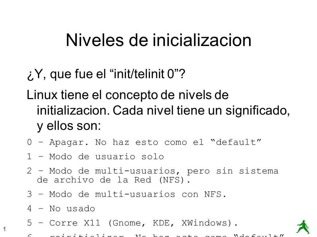Niveles de inicializacion
