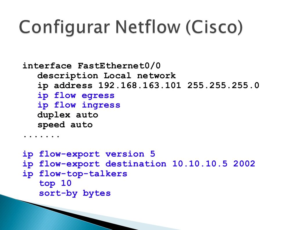 Configurar Netflow (Cisco)