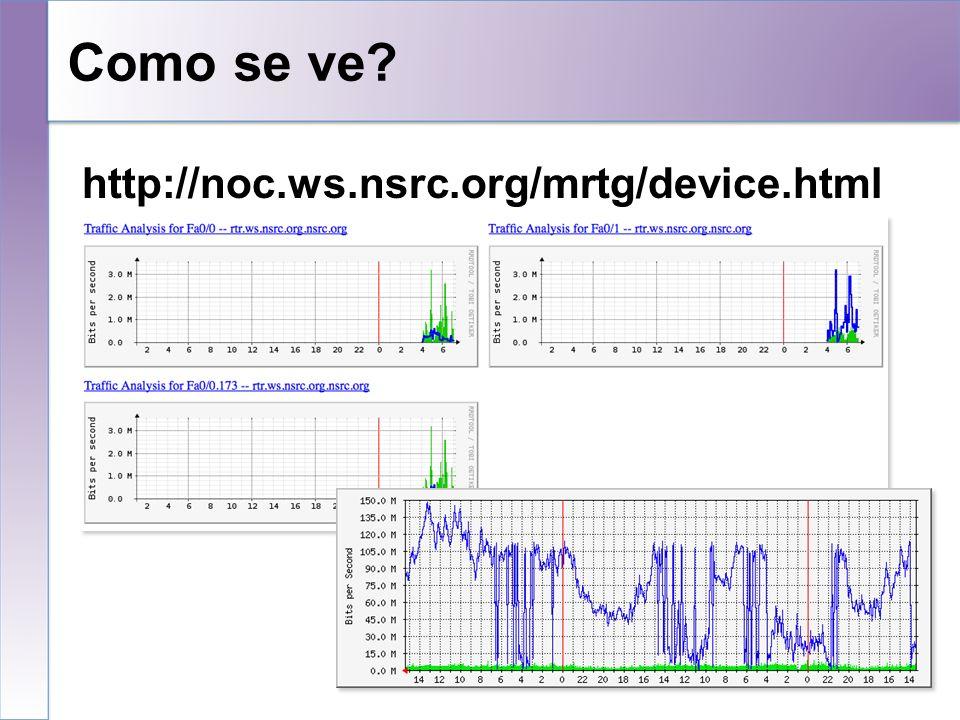 Como se ve 10/25/10 http://noc.ws.nsrc.org/mrtg/device.html 10 10