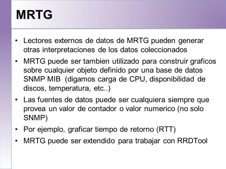 MRTG 10/25/10. Lectores externos de datos de MRTG pueden generar otras interpretaciones de los datos coleccionados.