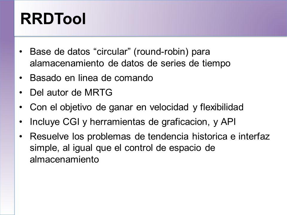 RRDTool 10/25/10. Base de datos circular (round-robin) para alamacenamiento de datos de series de tiempo.