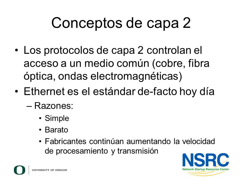 Conceptos de capa 2 Los protocolos de capa 2 controlan el acceso a un medio común (cobre, fibra óptica, ondas electromagnéticas)