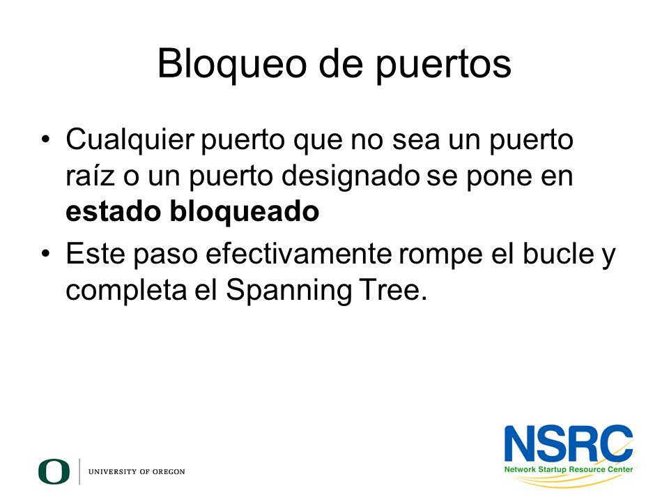 Bloqueo de puertos Cualquier puerto que no sea un puerto raíz o un puerto designado se pone en estado bloqueado.