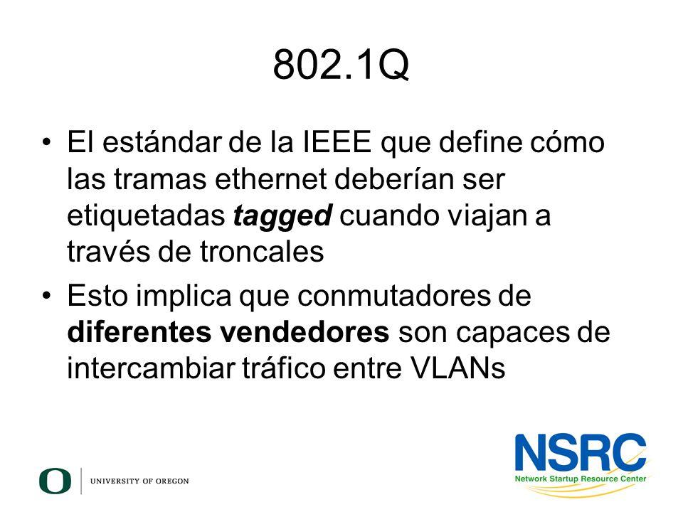 802.1QEl estándar de la IEEE que define cómo las tramas ethernet deberían ser etiquetadas tagged cuando viajan a través de troncales.