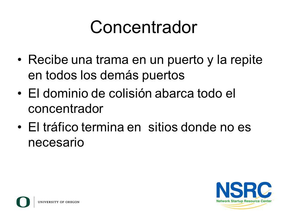 Concentrador Recibe una trama en un puerto y la repite en todos los demás puertos. El dominio de colisión abarca todo el concentrador.
