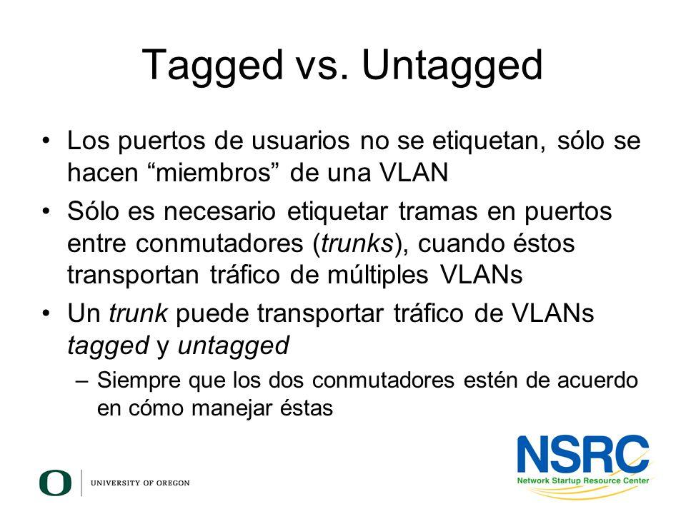 Tagged vs. Untagged Los puertos de usuarios no se etiquetan, sólo se hacen miembros de una VLAN.