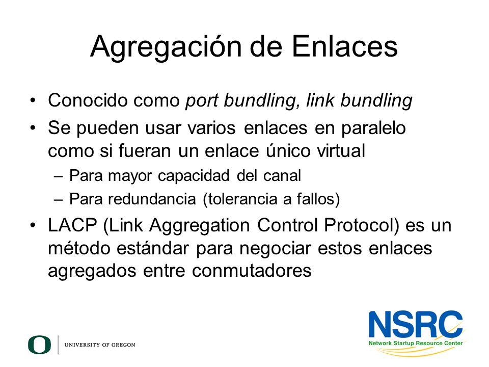 Agregación de Enlaces Conocido como port bundling, link bundling