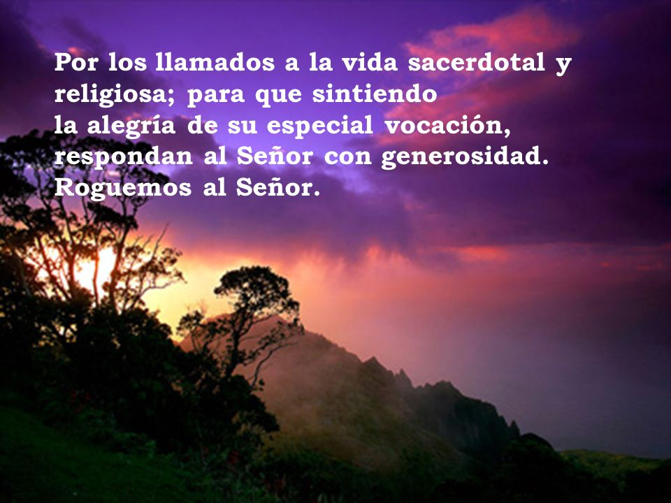 Por los llamados a la vida sacerdotal y religiosa; para que sintiendo la alegría de su especial vocación, respondan al Señor con generosidad.