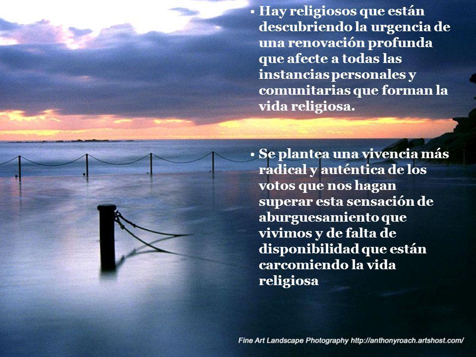 Hay religiosos que están descubriendo la urgencia de una renovación profunda que afecte a todas las instancias personales y comunitarias que forman la vida religiosa.