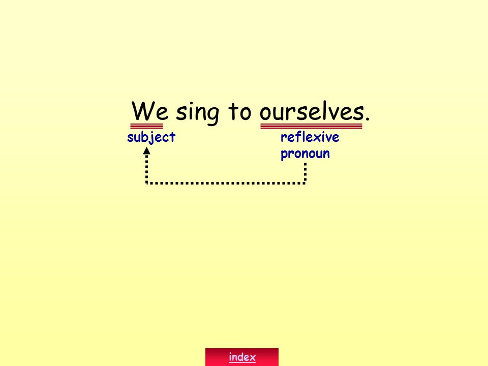 We sing to ourselves. subject reflexive pronoun index