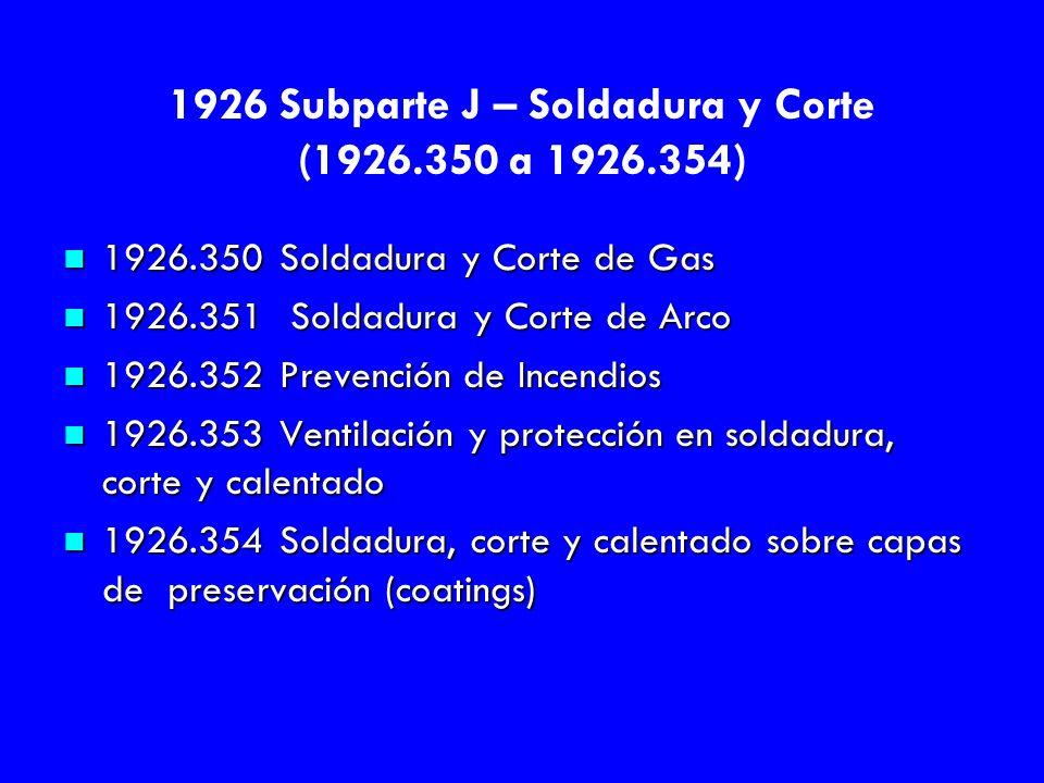 1926 Subparte J – Soldadura y Corte (1926.350 a 1926.354)