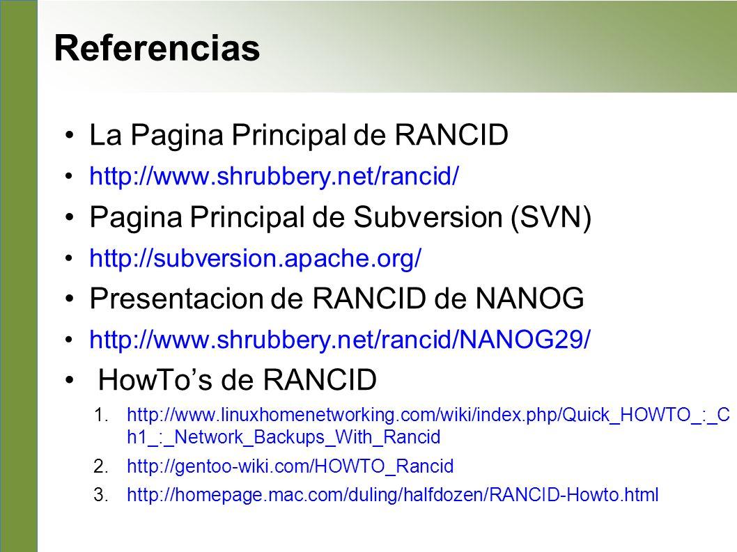 Referencias La Pagina Principal de RANCID