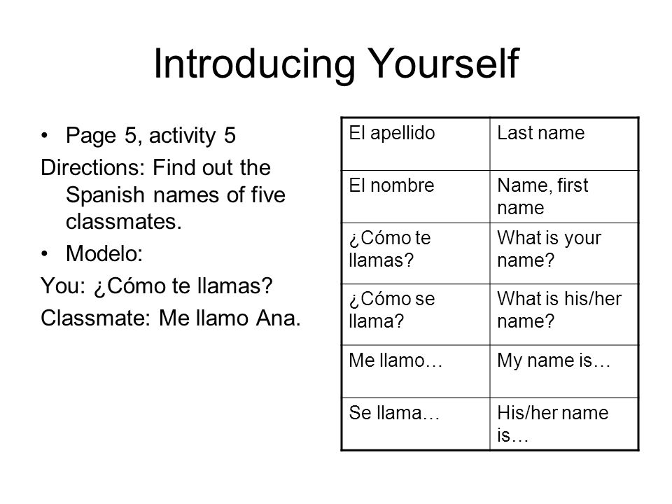 Introducing Yourself Page 5, activity 5