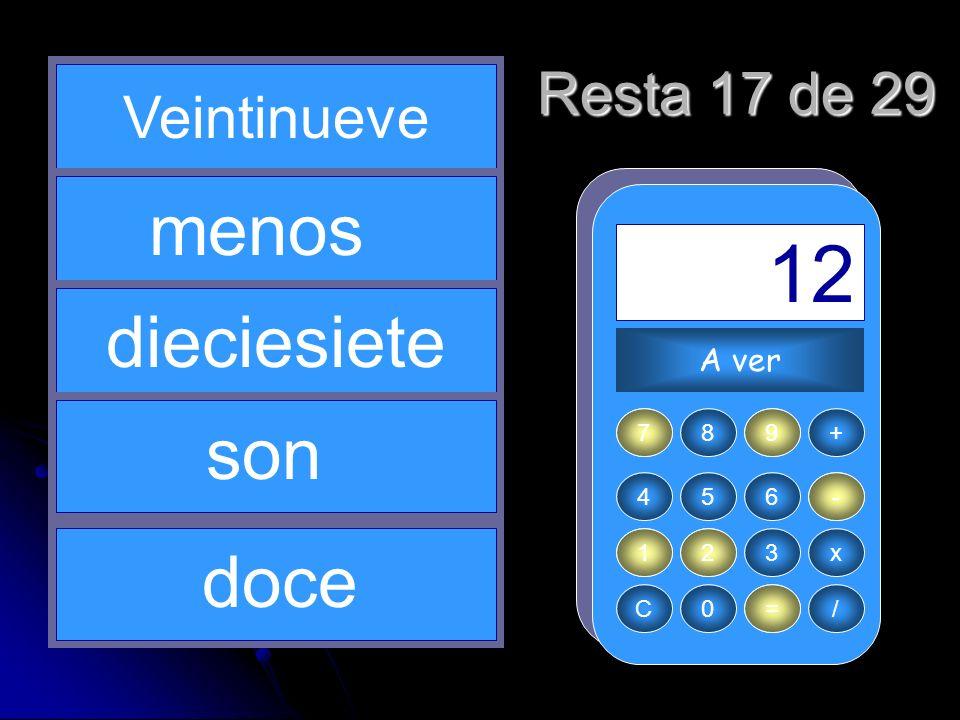 - 29 1 = 12 17 2 menos dieciesiete son doce Resta 17 de 29 Veintinueve