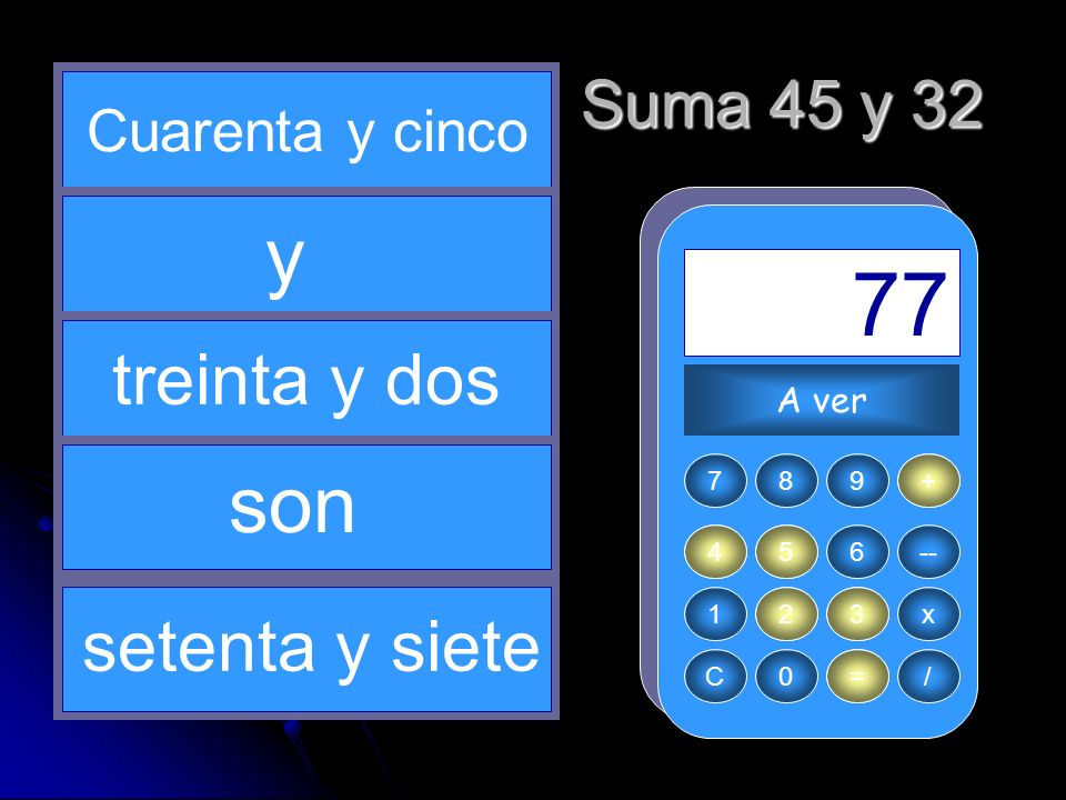+ 45 3 = 77 32 4 y son treinta y dos setenta y siete Suma 45 y 32