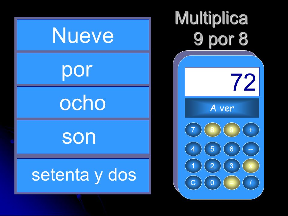 8 x = 72 9 Nueve por ocho son Multiplica 9 por 8 setenta y dos A ver 7