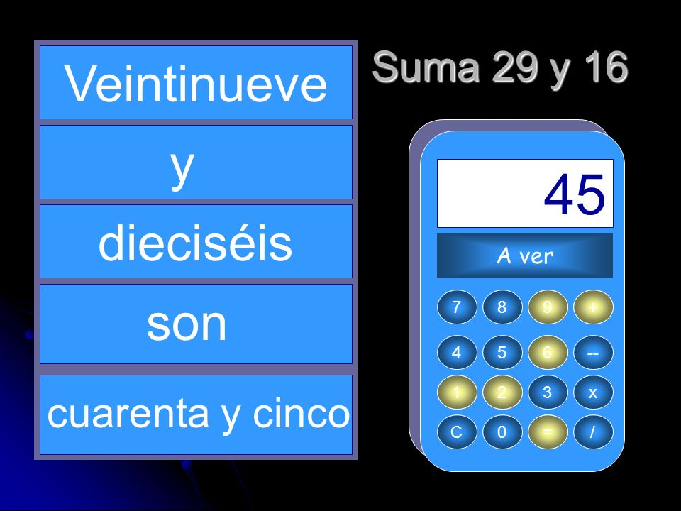+ 29 1 = 45 16 2 Veintinueve y dieciséis son Suma 29 y 16