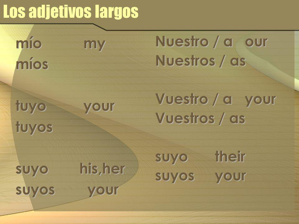 Los adjetivos largos mío my míos tuyo your tuyos suyo his,her