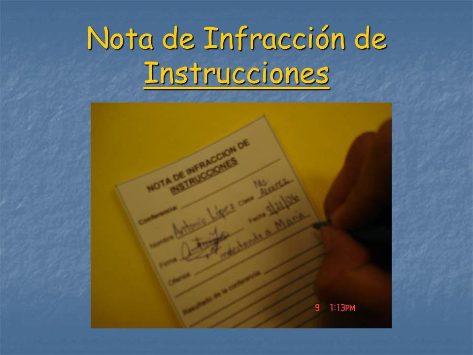 Nota de Infracción de Instrucciones