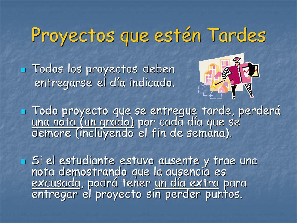 Proyectos que estén Tardes
