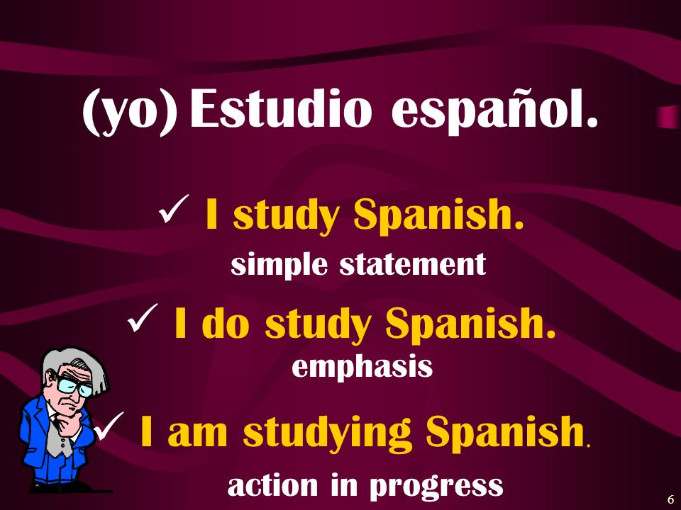 (yo) Estudio español. I study Spanish. I do study Spanish.