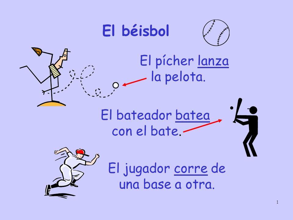 El béisbol El pícher lanza la pelota. El bateador batea con el bate.