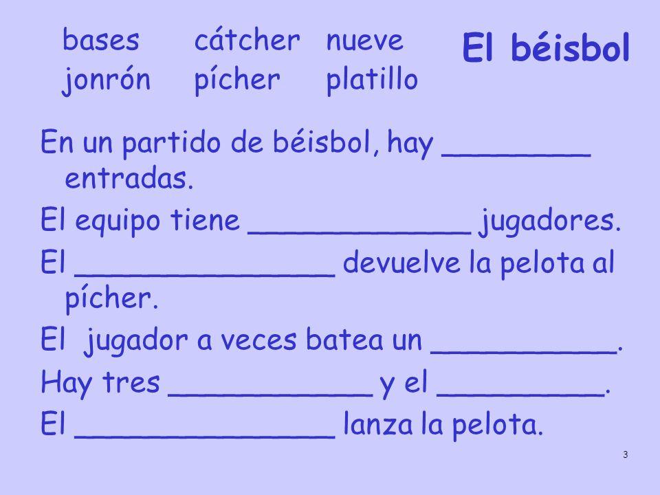 El béisbol bases cátcher nueve jonrón pícher platillo