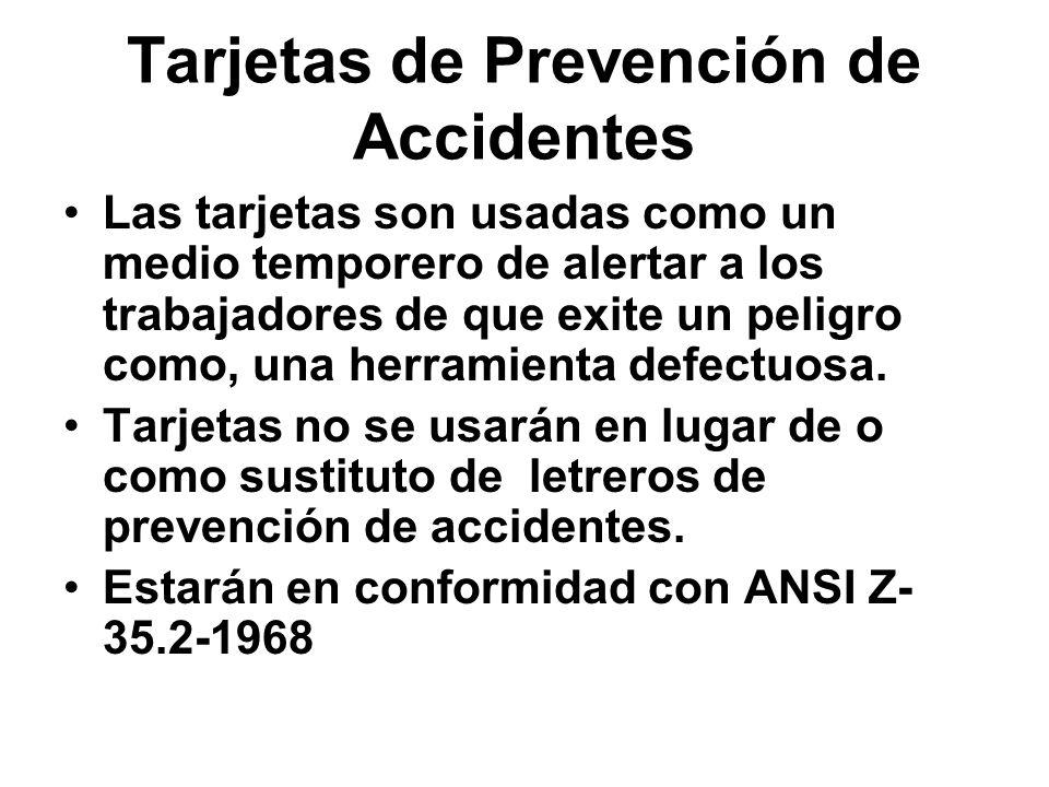 Tarjetas de Prevención de Accidentes