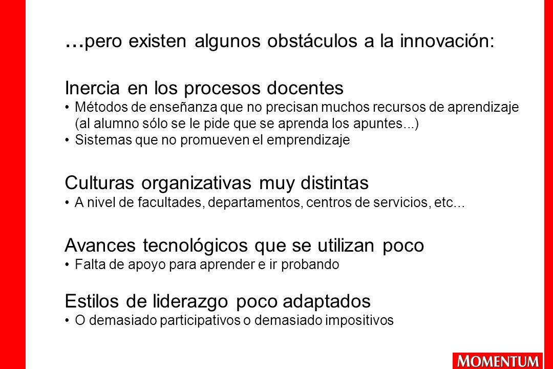 ...pero existen algunos obstáculos a la innovación: