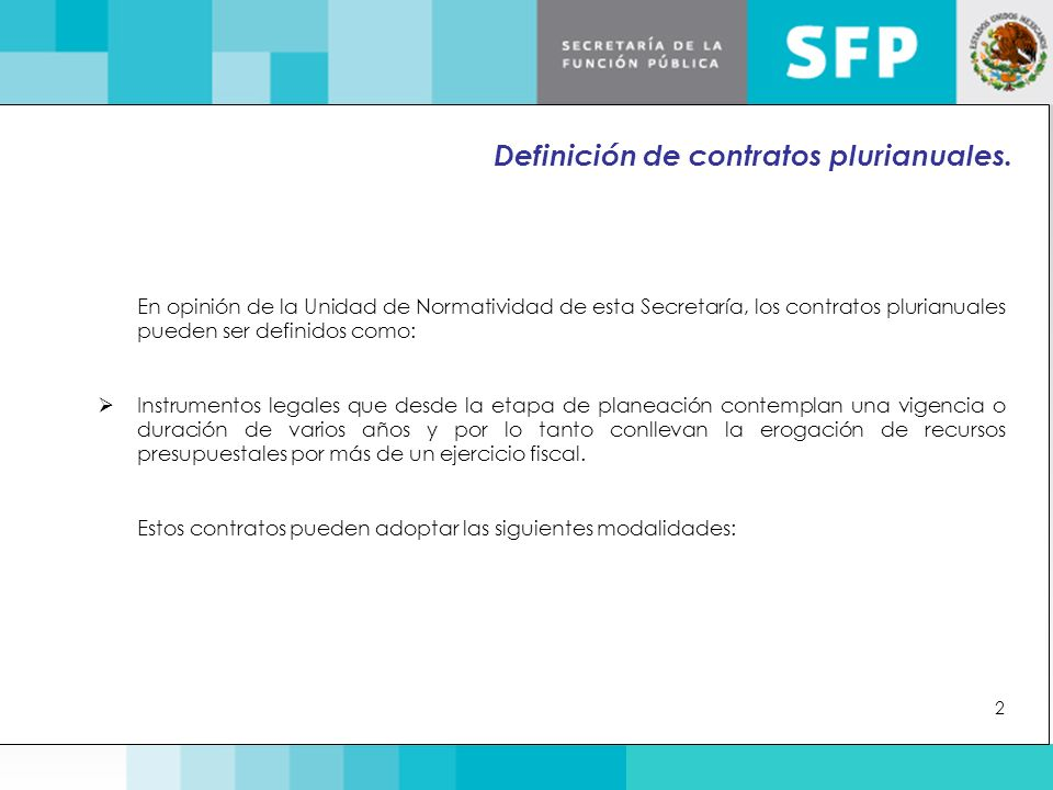 Definición de contratos plurianuales.