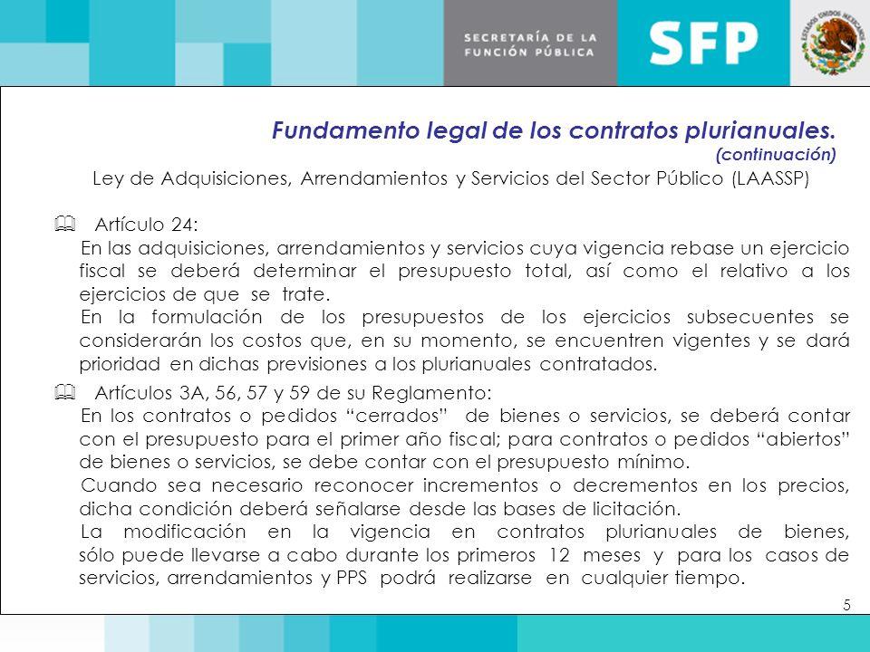 Fundamento legal de los contratos plurianuales.