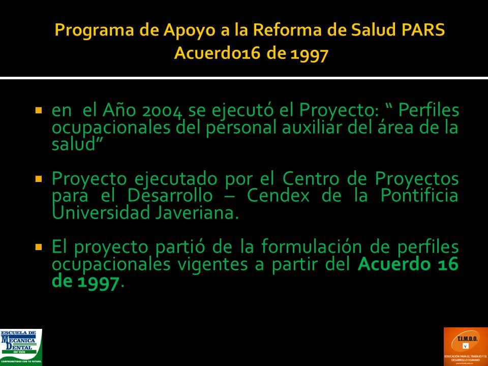 Programa de Apoyo a la Reforma de Salud PARS Acuerdo16 de 1997