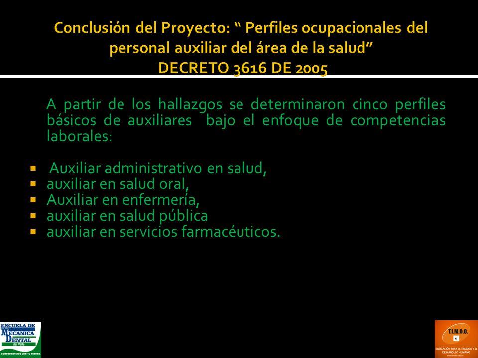 Conclusión del Proyecto: Perfiles ocupacionales del personal auxiliar del área de la salud DECRETO 3616 DE 2005