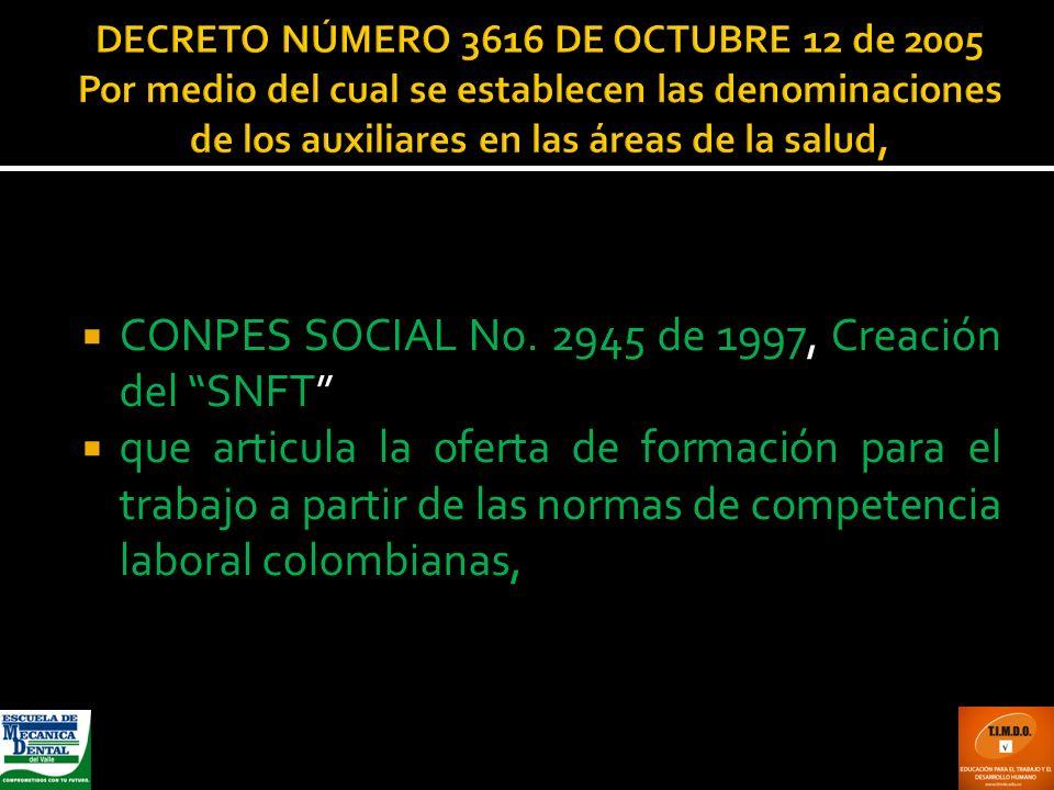 CONPES SOCIAL No. 2945 de 1997, Creación del SNFT